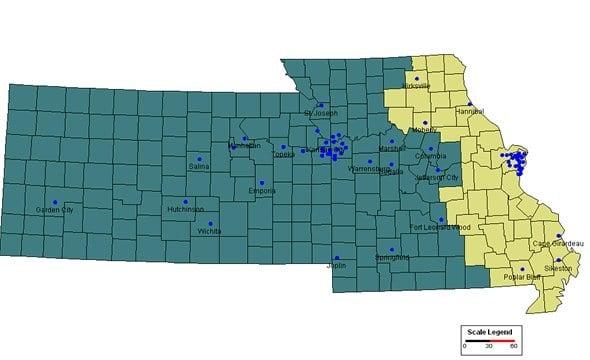 Heart of America RCFL - Service Area Map