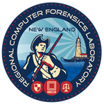 New England RCFL Logo. It has a patriot on it next to the ocean