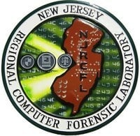 "Circular badge with ""new jersey regional computer forensic laboratory"" written on the outside. The middle has the shape of New Jersey inside it"